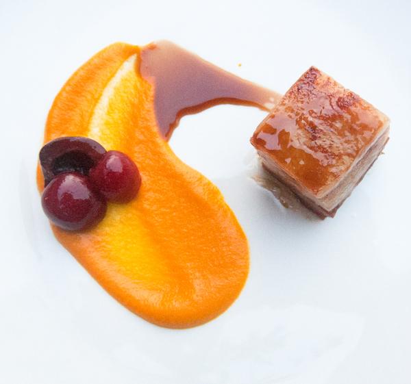 Pork belly, carrot miso, cherries, root beer glaze